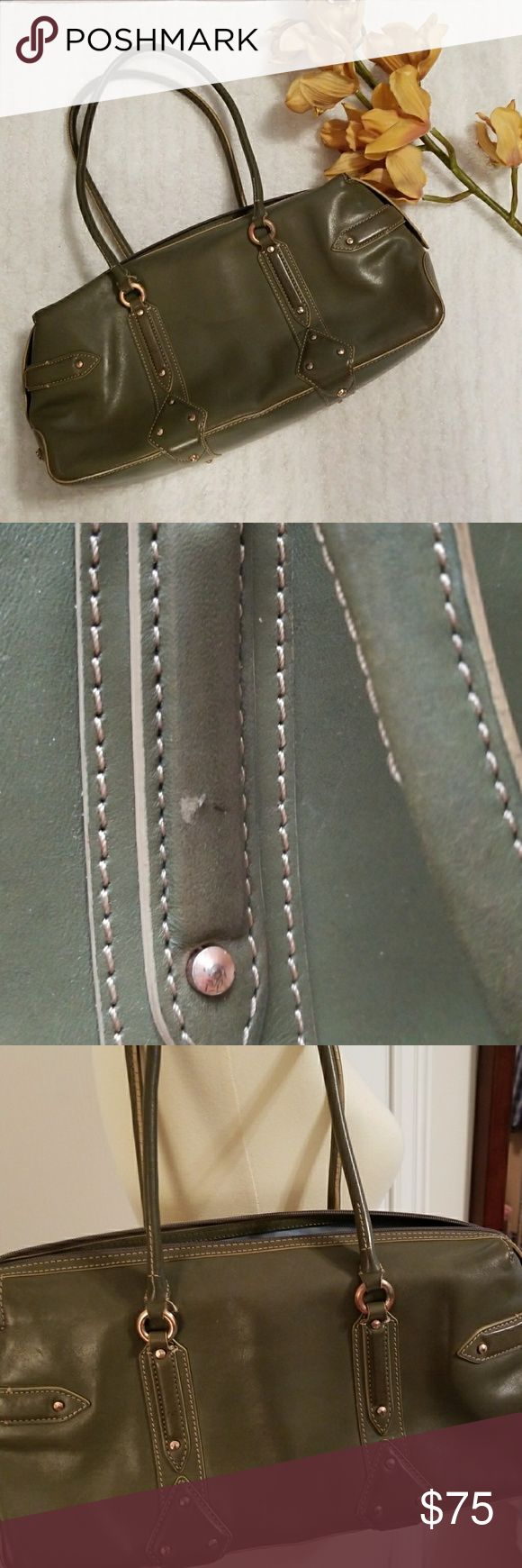 """Cole Haan Trinity olive green leather satchel Perfect for fall olive green shoulder bag by Cole Haan. Top zip close. Good condition. Just a couple of scuffs on the leather and minor wear on bottom (pictured) lining could use a cleaning. Approx 14.5""""w x 9""""h x 6"""" d. Strap drop approx Cole Haan Bags"""