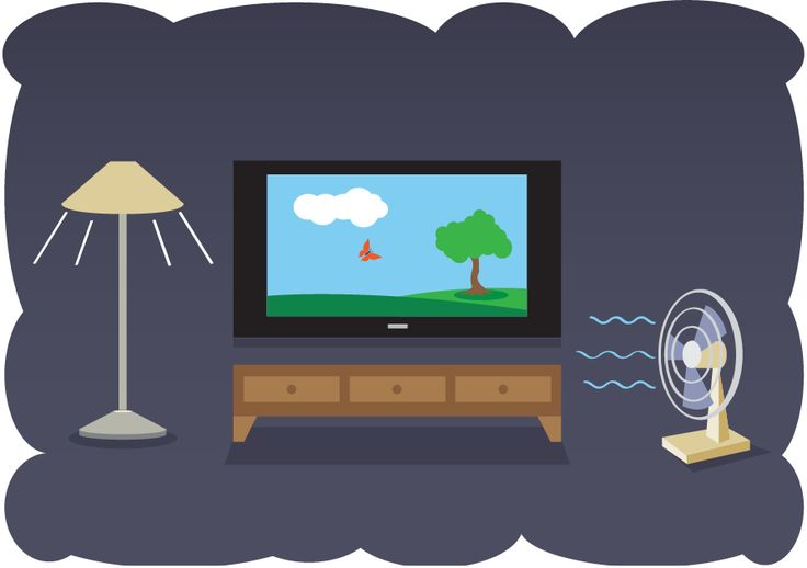 An Illustration Of A Living Room With A Lamp The Tv