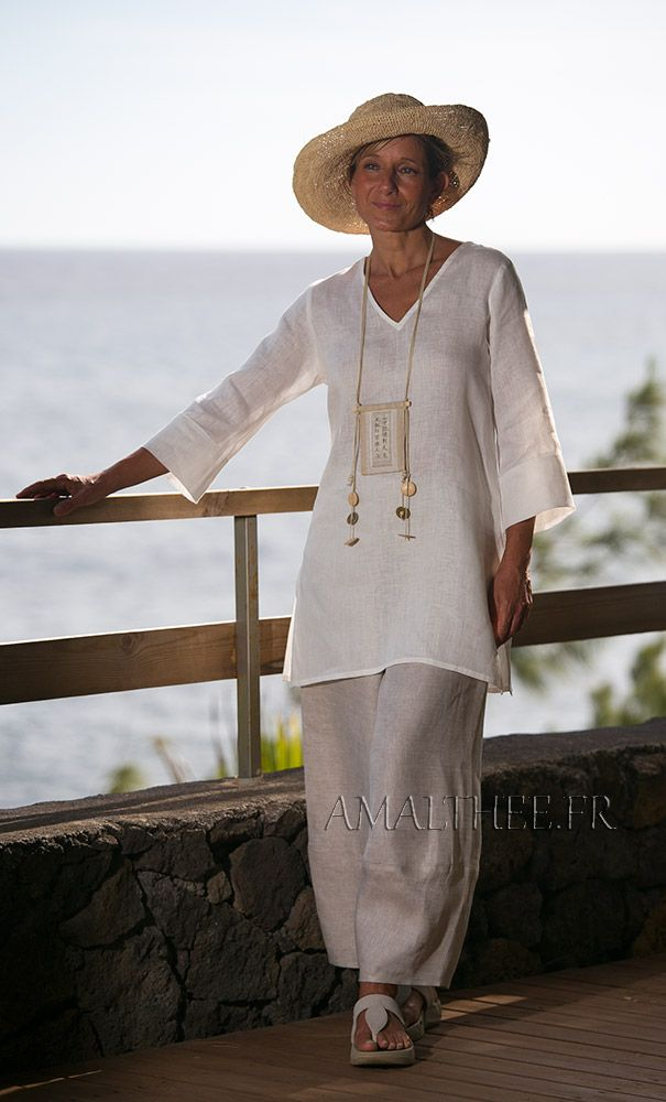 White summer linen tunic with dark natural linen pants