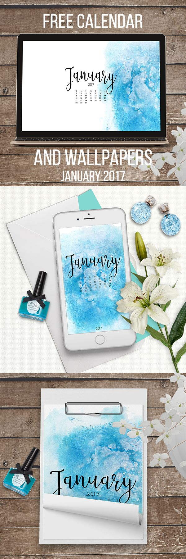 January 2017 Free Calendar and Wallpapers