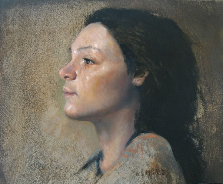 Beautiful portrait of a young girl by artist Micheal Hames, oil on board.