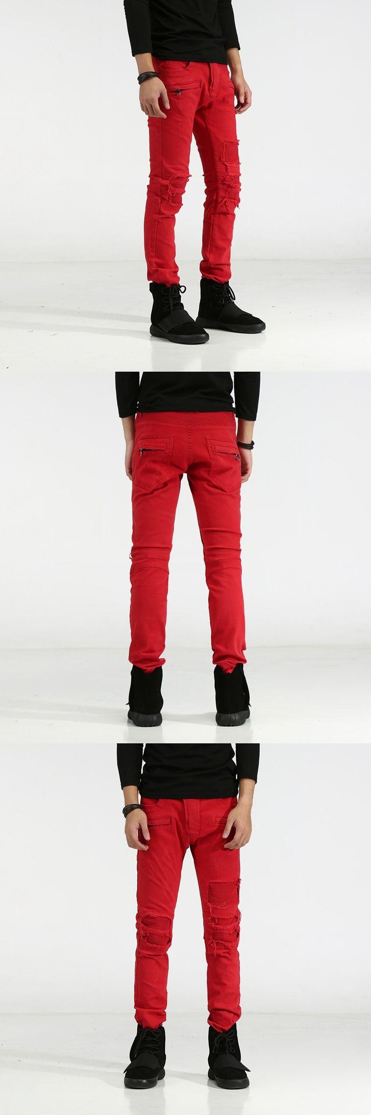 New Distressed Biker Jeans Men High Quality Mens Casual Slim Elastic Straight Denim Red Jeans Skinny Jeans Men Pants 29-42