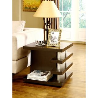 Architectural Inspired Dark Espresso End Table // not sure about this one. good storage though.