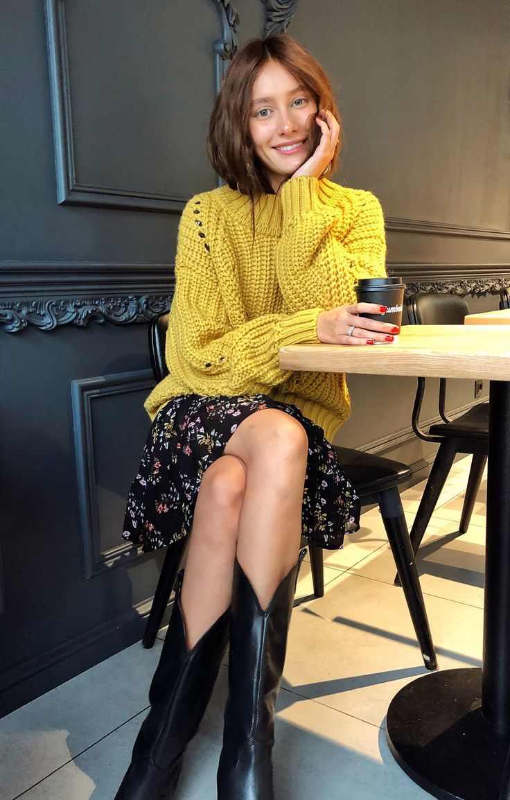 Yellow sweater + floral dress + cowboy boots #womensfashion #outfits #ootd