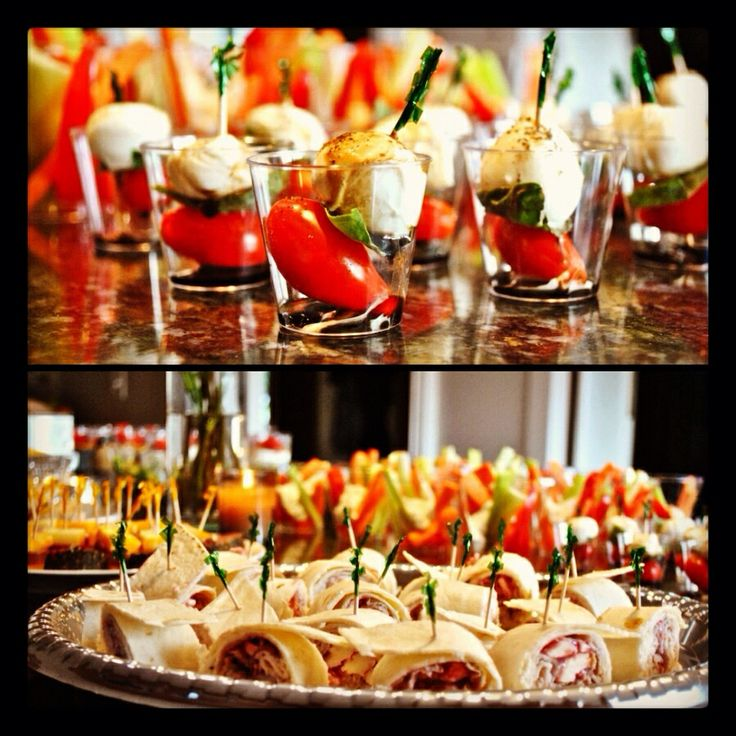 Finger Food Wedding Reception Menus: Bridal Shower Food: Mini Caprese Salad, Turkey Cranberry