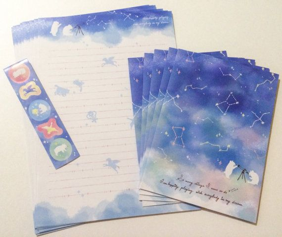 Dream Constellations Letter Set  Japanese Stationery by PasoKuma