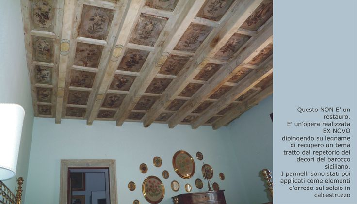 this is NOT a restoration. Is a work created from scratch. We painted on reclaimed wood a theme taken from the repertoire of the Sicilian tradition. The panels were applied to the ceiling.
