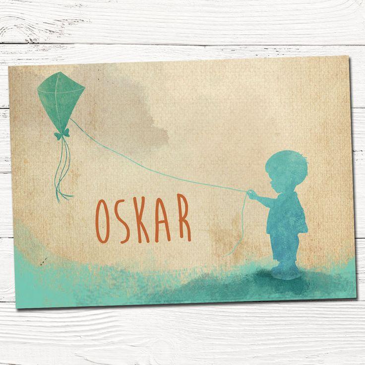 Geboortekaartje | jongen | origineel | vlieger | vintage | retro | babykaartje | Hier ben ik!