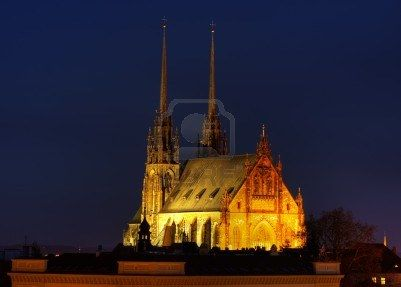 Night shot of Petrov cathedral in Brno, Czech republic