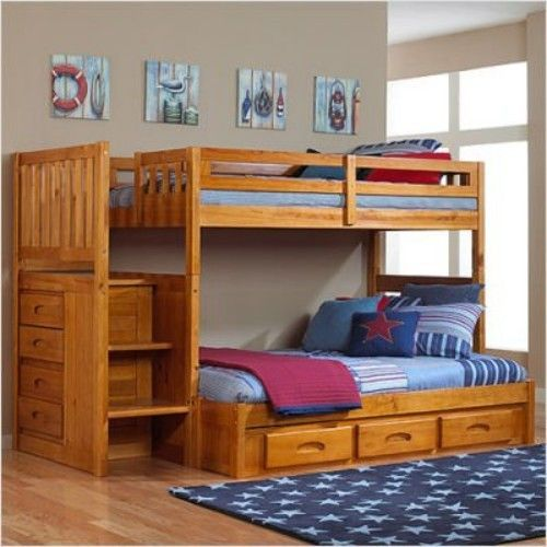 Wooden Twin Over Full Bunk Beds With Stairs For Kids. Love this for the boys (eventually).
