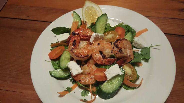 Marinated Prawn skewers & Salad
