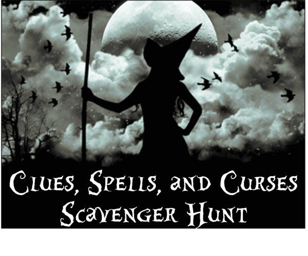 Halloween Scavenger Hunt Clues, Spells and Curses Printable Scavenger Hunt! its Like a murder mystery for older kids. Sounds fun!