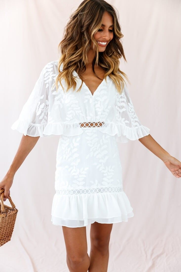 Caspar Leafy Embroidered Dress White Tall White Embroidered Dress White Dress Party Cute White Dress [ 1100 x 733 Pixel ]