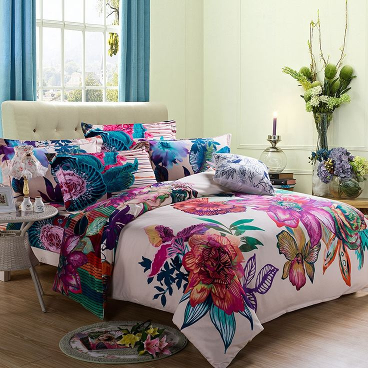 3D colorful flowers bedding set,brushed fabric 100 cotton