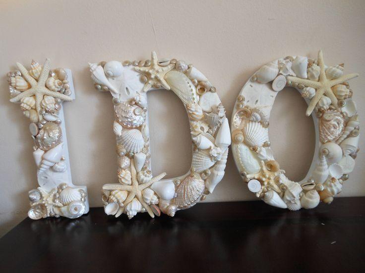 Beach Wedding Seashell Letters I Do White by ShellsUnlimited