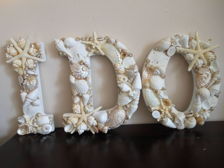 Beach Wedding Seashell Letters I Do White by ShellsUnlimited