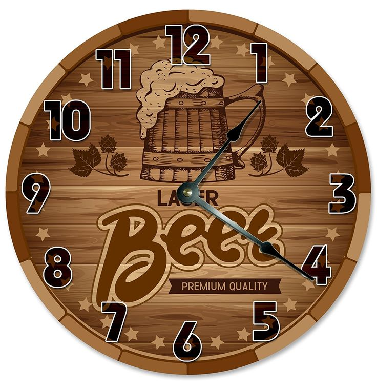 BEER CLOCK Decorative Round Wall Clock Home Decor Large 10.5' BARREL CASKET CRATE Printed Wood Image * Visit the image link more details. (This is an affiliate link and I receive a commission for the sales)