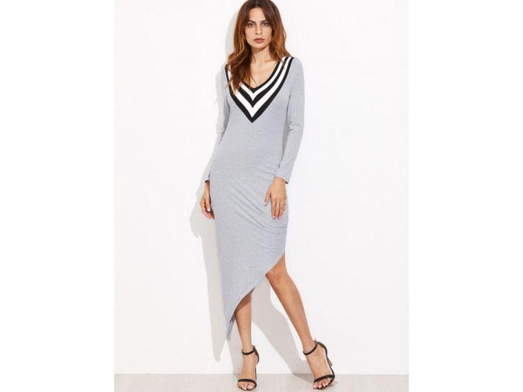 Asymmetrisches Kleid 2017 mit V-Ausschnitt in  Hell Grau