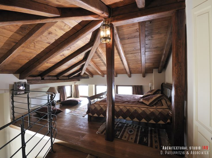 Bedrooms _ attic | handcrafted | stone house | mountain Pelion | interior design | construction | wooden roof _ visit us at: www.philippitzis.gr