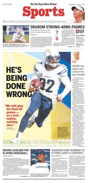 He's being done wrong San Diego Union Tribune Chargers #Newspaper #Design #Layout #GraphicDesign