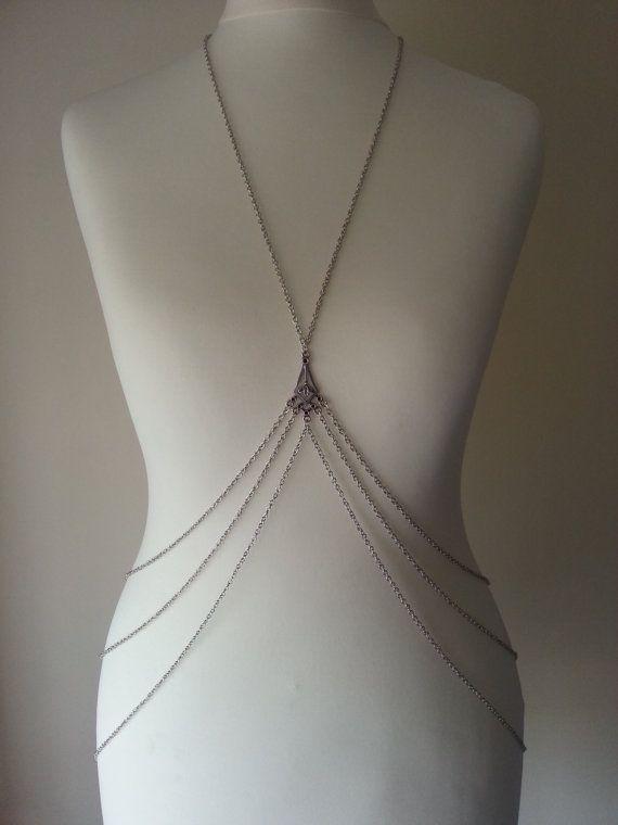 Silver Body Harness Body Chain by BeedJewellery on Etsy, £15.00
