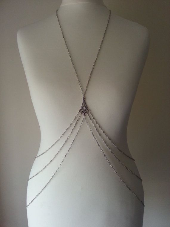 Silver Body Harness Body Chain by BeedJewellery on Etsy, £15.00