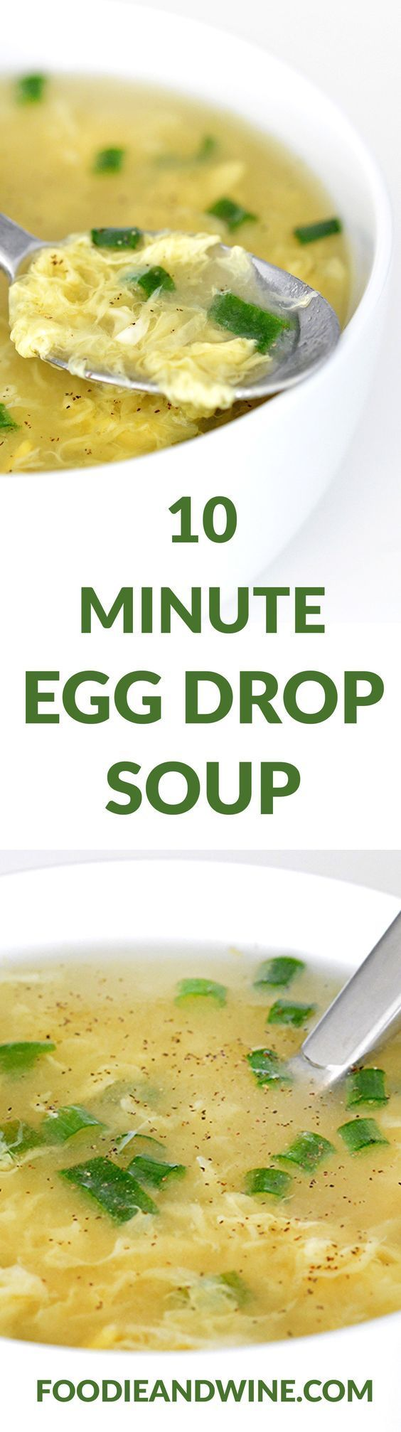 10 Minute Egg Drop Soup Recipe! This Chinese Food Recipe is quick, easy and loaded with flavor. Pairs nicely with Fried Rice our other Asian Recipes. This can easily adapt to a vegetarian recipe. Click to see more Soup Recipes! #chinesefoodrecipes