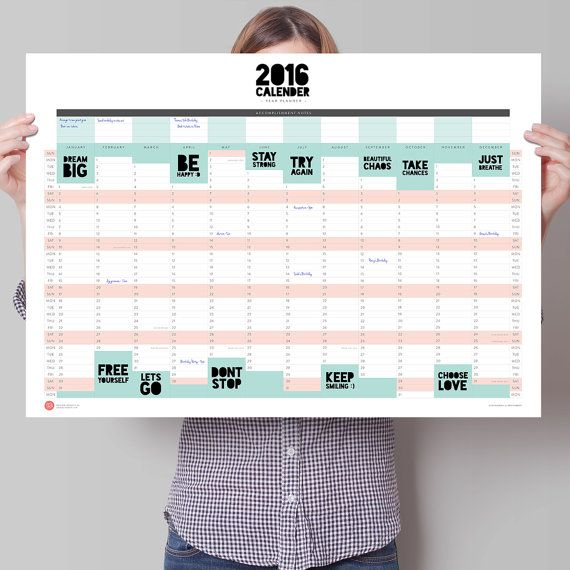 2016 A2 Large Wall Planner — Powerful Two Word Phrases — Print Poster
