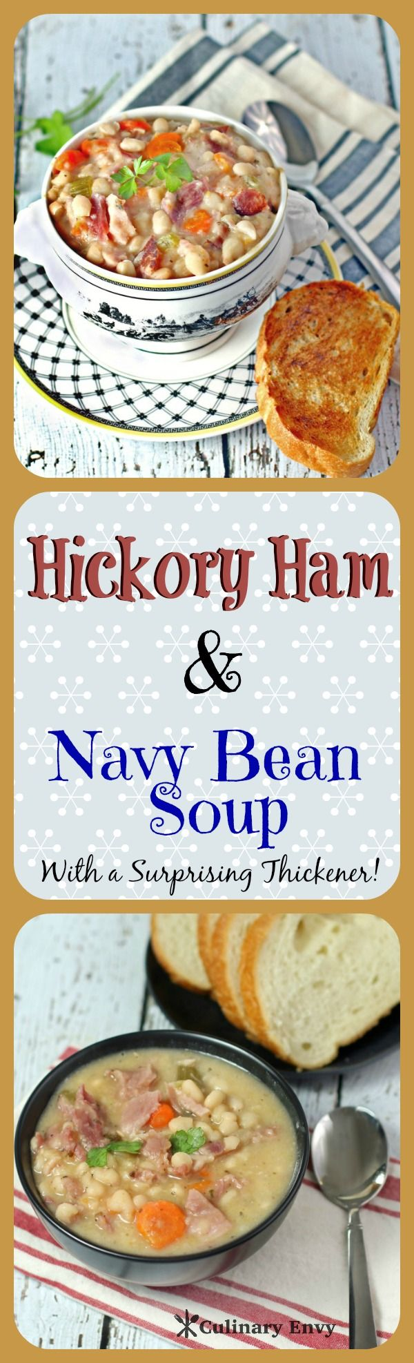 Hickory Ham and Navy Bean Soup is an easy, delicious, economical, heartwarming, one-pot soup that will warm you up on a cold night!