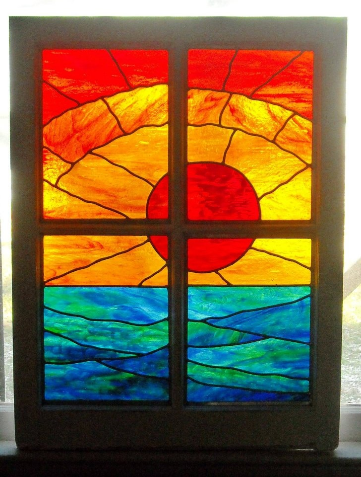 stained glass panel caribbean sunset ON SALE by mywindowcandy