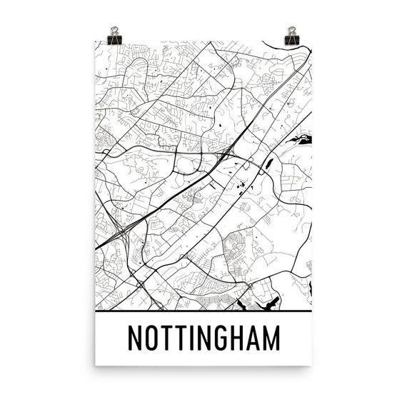 Nottingham Map Art Print, Nottingham UK Art Poster, Nottingham Wall Art, Map of Nottingham, Nottingham Print, Nottingham Art, Poster, Gift