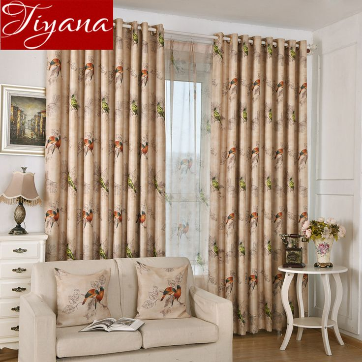 Birds Curtains Printed Sheer Voile Window Screen Yarn Rustic Modern Living Room Tulle Drapes