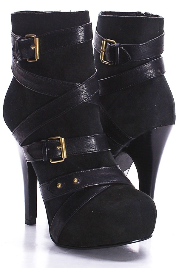BLACK FAUX LEATHER AND SUEDE WOODEN HEEL WRAP AROUND STRAP BOOTIES