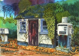 """The Art of Phil Davis:  Abandoned.Ink Pigment on Acrylic Paper.A4(11.5"""" x..."""