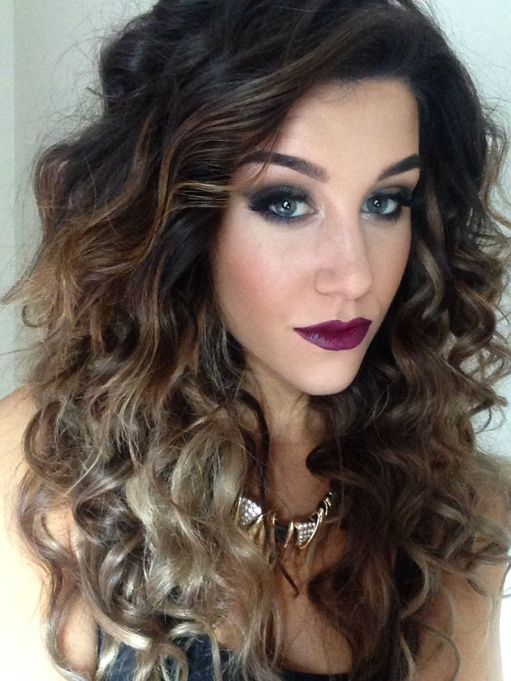 Big Curly Ombre Hair With Mac Rebel Lipstick