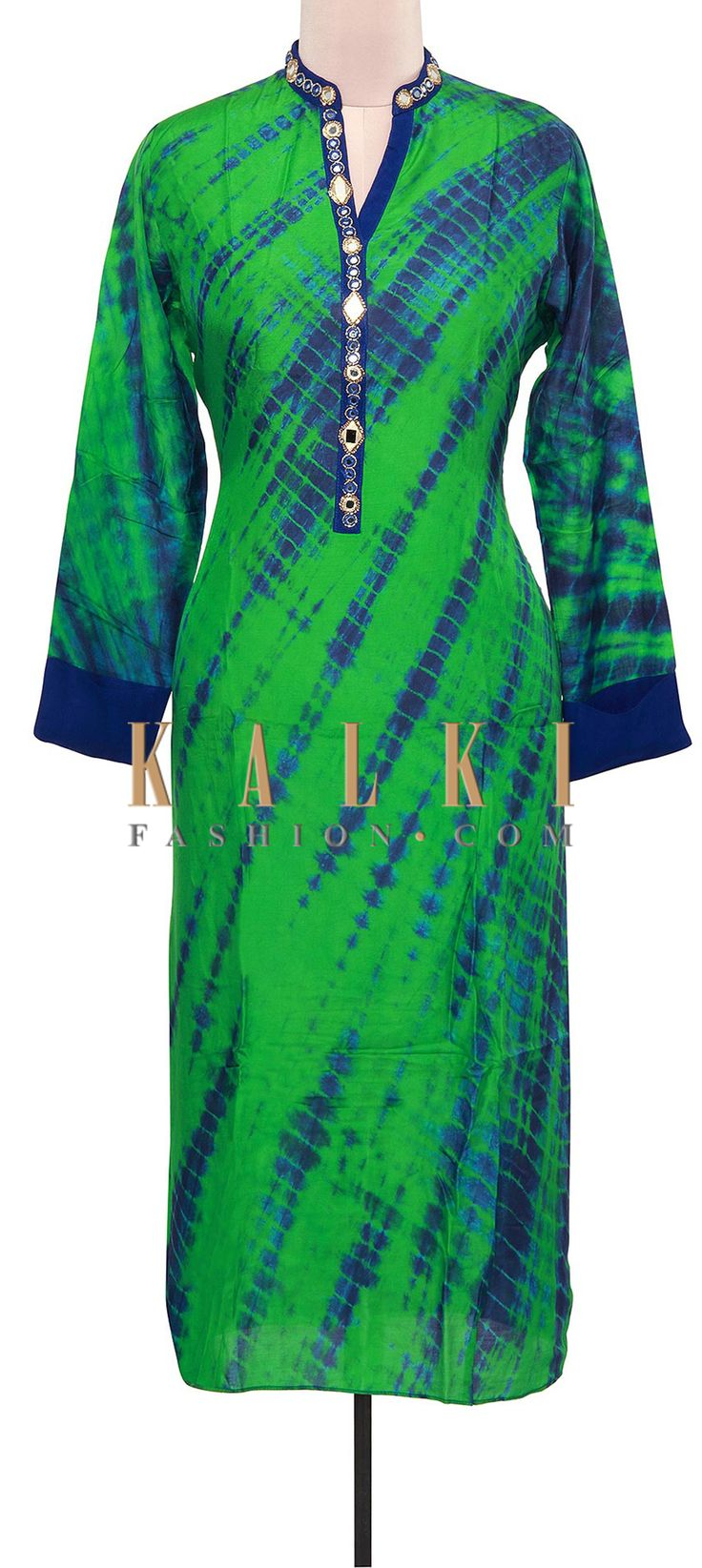 Buy Online from the link below. We ship worldwide (Free Shipping over US$100). Product SKU - 309243.Product Link - http://www.kalkifashion.com/green-and-blue-tie-and-dye-kurti-adorn-in-mirror-placket-only-on-kalki.html