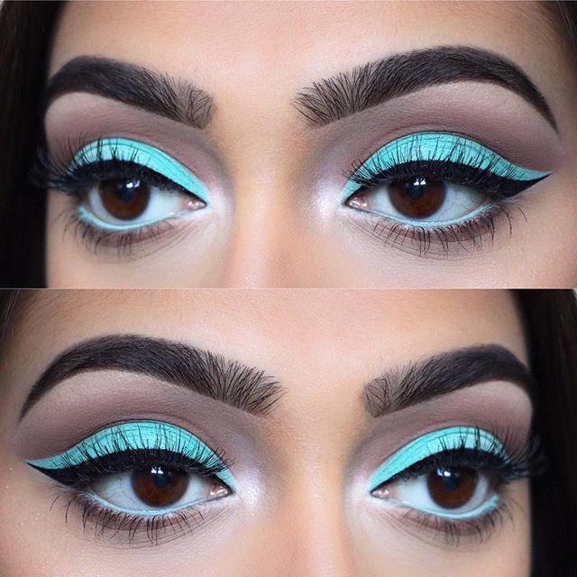 "Tiffany blue cut crease closeup Eyes: @morphebrushes • 35B and 35O palettes Brows: @anastasiabeverlyhills • Brow wiz in ""ebony"" and ""dark brown"" Liner: @tartecosmetics • black clay tarteist liner Lashes: @ardell_lashes • ""whispies"" Used @morphebrushes to create this look  #makeup #instamakeup #cosmetic #cosmetics #mua #fashion #eyeshadow #lipstick #gloss #mascara #palettes #eyeliner #lip #lips #tar #concealer #foundation #powder #eyes #eyebrows #eyelashes #primers #beauty #beautiful…"