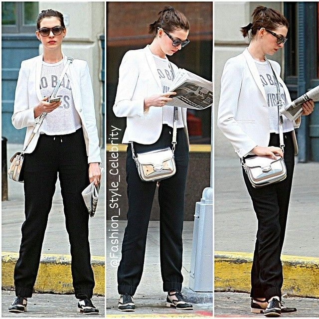 #annehathaway #black #croptop #pink #plaidshirt #plaid #flats #summer #fashion #style #celebrity #football #victoriassecret #angel #beautiful #gorgeous #trend #trendy #chic #ootd #outfit #mirandakerr #vs #blazer #stylish #accessories #heels #shoes #model #fall... - Celebrity Fashion