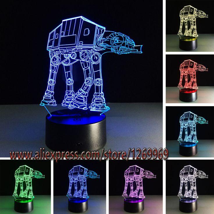 Hot Sale  Cartoon Star Wars 3D USB LED Lamp Robot Troop Transporting dog Rebels Shuttle 7 Colors Changing Night Light Boy Gifts #Affiliate