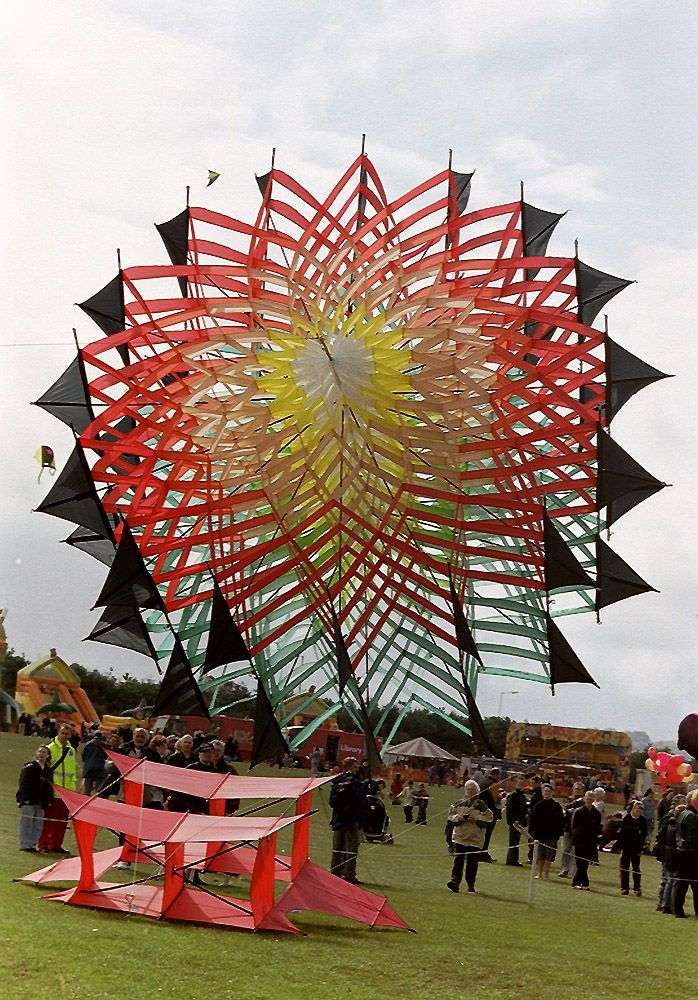 An absolutely massive cellular kite, which dwarfs the quite large red Cody kite on the grass in front of it. T.P. (my-best-kite.com)