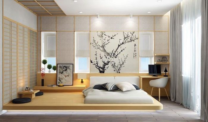 Master Bedroom Decorating Ideas Chinese Style Wooden Floating Bed White Blinds On The Wall Modern Minimalist Bedroom Japanese Style Bedroom Bedroom Interior