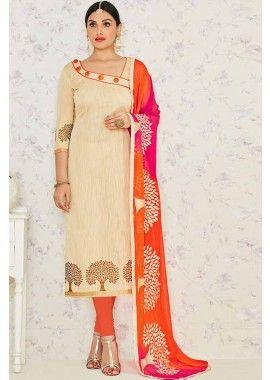 Beige Banarasi Jacquard Churidar Suit, - £57.00, #Churidarsuitsuk #Onlinechuridaruk #Churidaruk #Bhagalpurisilkchuridar #Silkchuridaronline #Shopkund