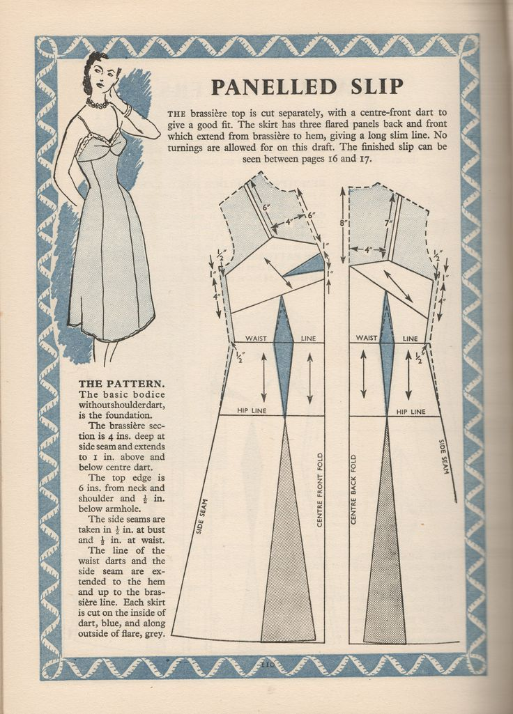Panelled Slip Draft Pattern from Complete Dressmaking in pictures published by Odhams. 1950