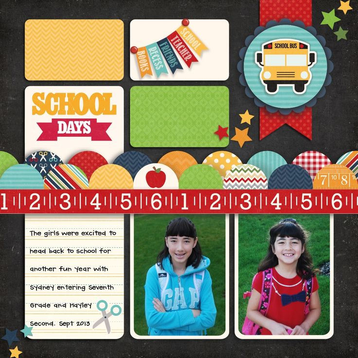 A Lori Whitlock School Days Layout by Mendi Yoshikawa - Scrapbook.com