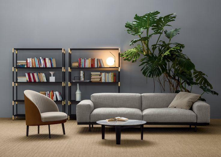 arflex - Naviglio sofa design Asnago - Jim armchair and Tablet small table design Claesson Koivisto Rune - Match bookcase design Bernhardt- Vella #arflex #naviglio #sofa #jim #armchair #design #asnago #claessonkoivistorune #tablet #smalltable #match #bookcase #bernhardtvella