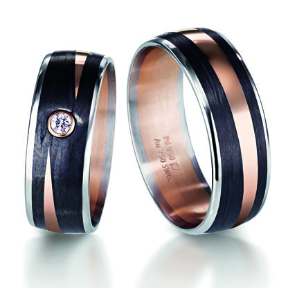 High Quality Carbon Fibre, Rose Gold And White Gold Wedding Ring. 6mm Wide By Furrer  Jacot