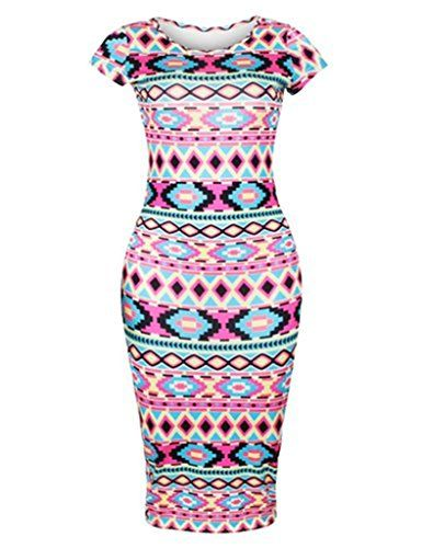 Womens Vintage Aztec Tribal Print Short Sleeve Bodycon Midi Dress S Pattern 3 -- Click on the image for additional details.