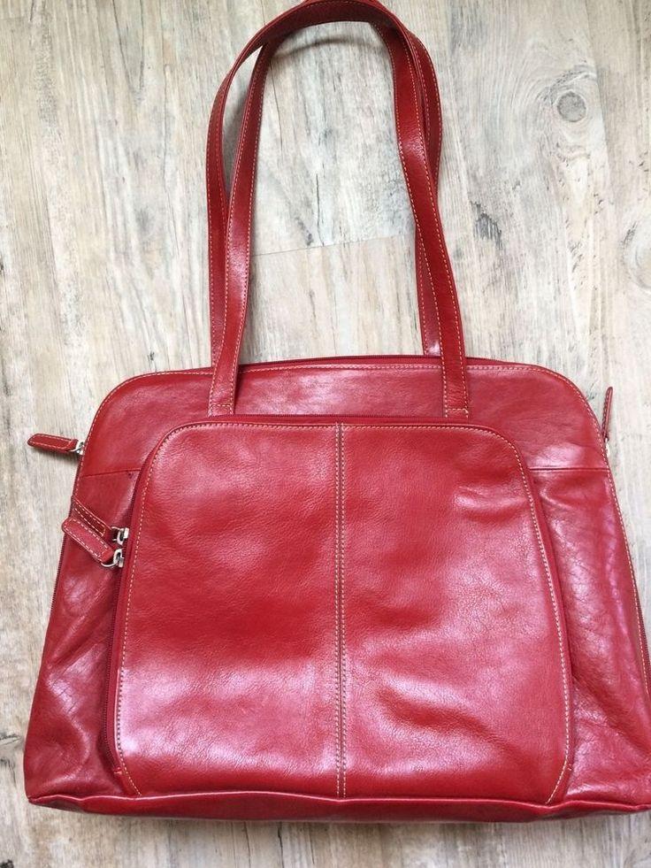 Buxton RED Leather Women's Laptop Bag #BUXTON
