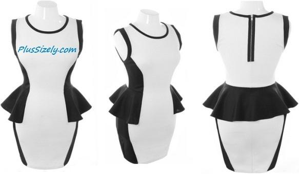 Black White Club Dresses for Plus Size Women