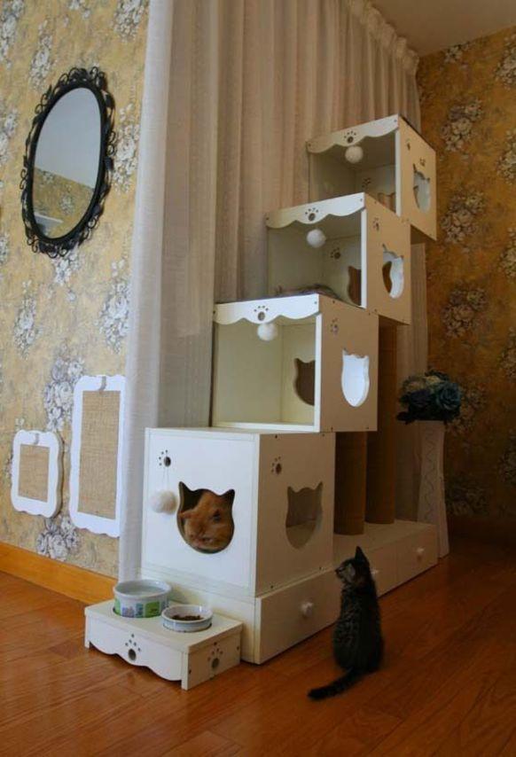 Toll 10 Kreative Ideen, Um Aus Alten Möbeln Einen Katzenbaum Zu Basteln